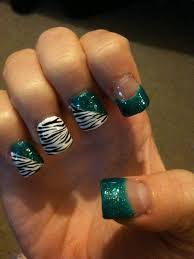 teal turquoise zebra print acrylic nails design hair