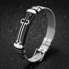 black strap bracelet images Crosstees classic cross bracelet adjustable watch band web mesh jpg