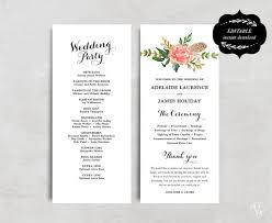 purple wedding programs printable wedding program template floral wedding program boho