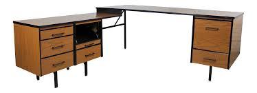 Metal Computer Desk With Hutch by Mid Century Walnut Laminate U0026 Black Metal Desk Chairish