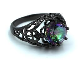 black rings images Black rings with mystic rainbow topaz stone that opal store jpg