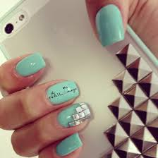 mint green gel nail art silver studs nail art pinterest gel