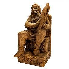 seated bragi norse god of skaldic poetry statue wood finish
