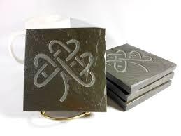 Shamrock Decorations Home Stone Coasters Celtic Shamrock Hand Carved Multicolor Slate