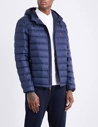 polo ralph lauren hooded shell down jacket in blue for men lyst