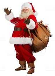 santa clause pictures real santa claus carrying big bag of gifts stock photo