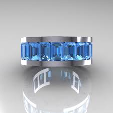 mens blue wedding bands mens modern 10k white gold blue topaz channel cluster infinity
