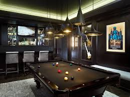 pool table bar stools pool table room with dark walls family room contemporary and leather
