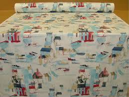 Shabby Chic Upholstery Fabric Prestigious St Ives Cobalt Seaside Boats Shabby Chic Fabric