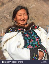 inuit woman of grise fjord in traditional clothing ellsmere