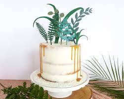 Tropical Decor Greenery Wedding Cake Topper Tropical Decor Foliage Cake