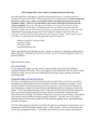 sample offer letter university of iowa fellowship
