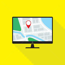 design pc monitor map application on desktop pc monitor flat design icon vector