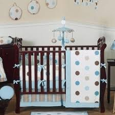 Brown Baby Crib Bedding Blue And Brown Modern Polka Dot Baby Bedding 9 Pc Crib Set 64 Jpg