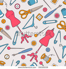 seamless pattern sewing supplies doodle style stock vector