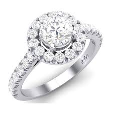 platinum solitaire rings images Platinum solitaire halo engagement ring with diamond shank jl pt jpg