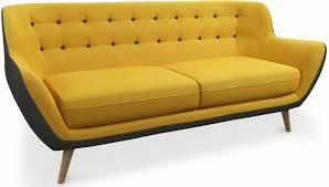 canapé tissu canapé scandinave 3 places tissu noir et jaune mindra lestendances fr