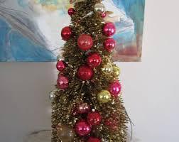 miniature glass christmas tree with ornaments modern glass