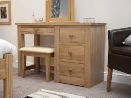 Modern Oak Bedroom Furniture Torino Solid Oak Single Pedestal Dressing Table And Stool Oak