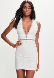 sleeveless dress white lace plunge sleeveless dress missguided