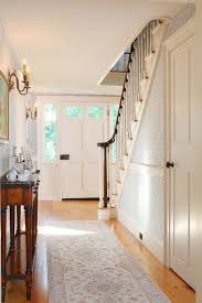 Pine Chair Rail - staircase wallpaper designs entry traditional with white trim