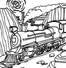 steam train passing mountain coloring netart