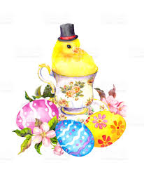 small chicken easter eggs cute small chicken animal with tall hat in tea cup
