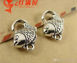 metal fish ring holder images 2018 20 13mm antique bronze tone goldfish fish lobster clasp for jpg