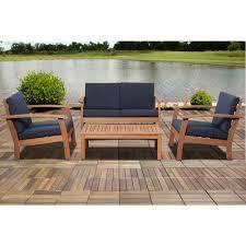 4 piece patio furniture sets amazonia giles 4 piece eucalyptus patio deep seating set with blue