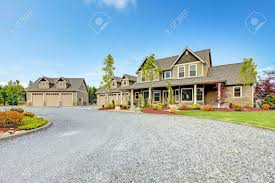 Country House Large Farm Country House With Gravel Driveway And Green Landscape