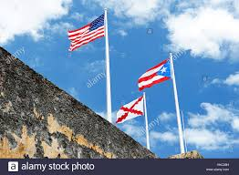 Puerto Rico Flag Puerto Rico Flag With Usa Flag In Fort Stock Photo Royalty Free