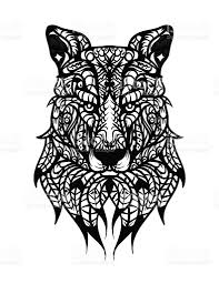 handdrawn wolf head with ethnic pattern coloring page for adults