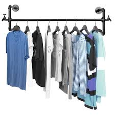 black metal wall mounted faucet design closet rod garment rack