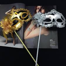 masquerade party masks masquerade party masks on stick lateral feather flowers gold plating