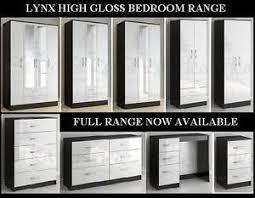 Black Gloss Bedroom Furniture Uk Birlea Lynx Black And White High Gloss Bedroom Furniture Stunning