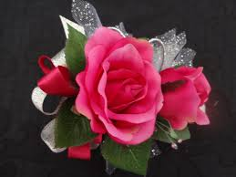 pink corsage 2 wrist corsage and boutonniere in hot pink roses