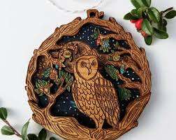wooden owl ornament etsy