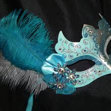 teal masquerade masks masquerade mask in silver with turquoise from the crafty