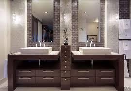 contemporary master bathroom with double sink u0026 specialty door