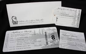 carlton wedding invitations black white lake tahoe travel themed airline ticket wedding