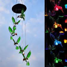 Hummingbird Garden Decor Eeekit Color Changing Led Hummingbird Solar Wind Chimes Yard Home