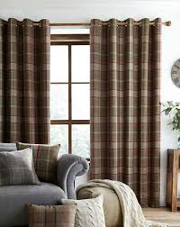 Wool Curtains Highland Check Tartan Eyelet Pair Of Lined Curtains Green
