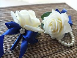 royal blue corsage wrist corsage white with royal blue ribbon on pearl