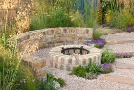 Garden Firepit Patio Plantings Fireplace With Pretty Light Plant Flower