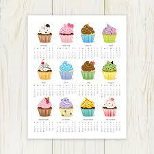 printable calendar 2016 etsy 2018 cupcake calendar digital 8x10