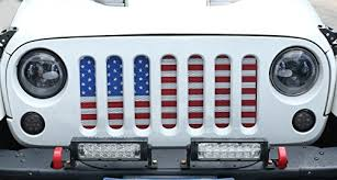 jeep wrangler front grill opar front grille mesh american flag insert for 07 17 jeep wrangler