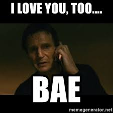 I Love You Bae Meme - i love you too bae liam neeson taken meme generator