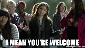 Pitch Perfect Meme - i mean you re welcome pitch perfect we out meme generator