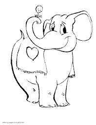 free coloring valentine pages elephant with flower
