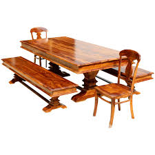solid wood trestle dining table rustic solid wood trestle dining table benches 2 chairs
